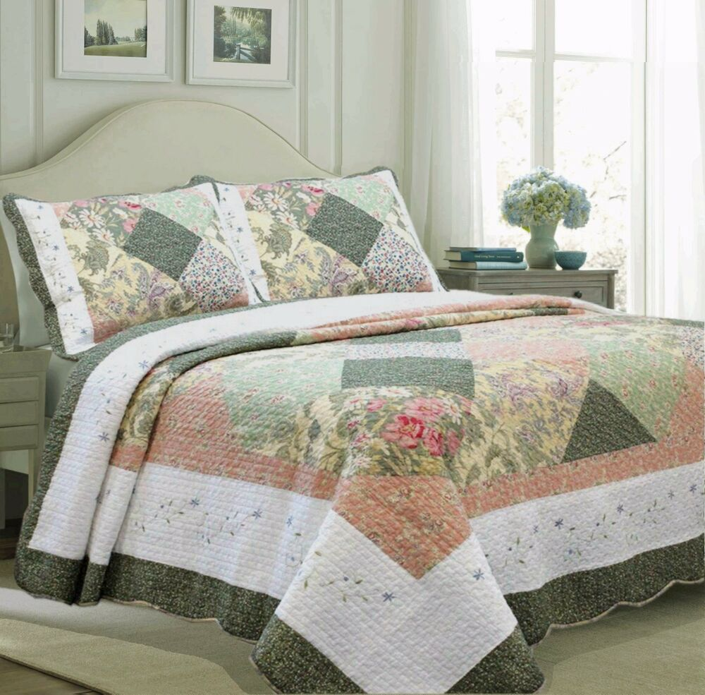 Laura Forest 100 Cotton Quilt Set Bedspread Coverlet Ebay