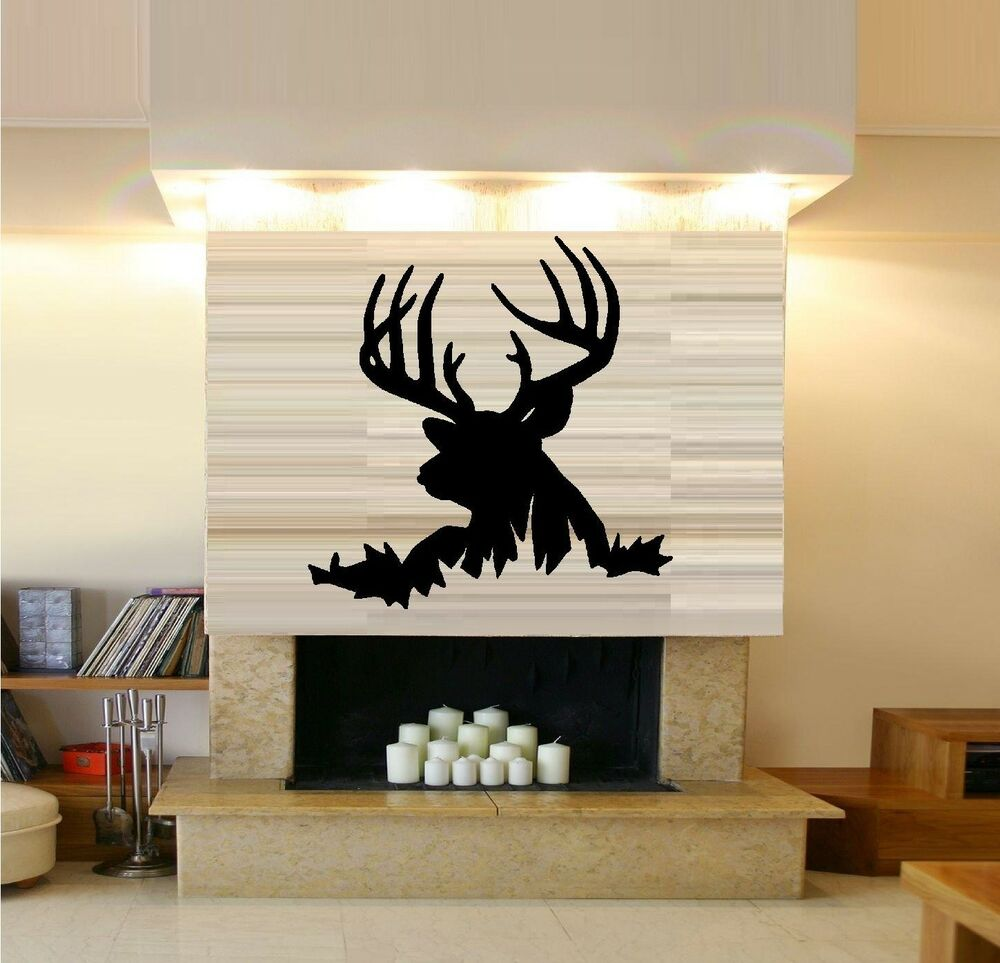 Buck deer head wall decal silhouette ebay for Deer wall mural