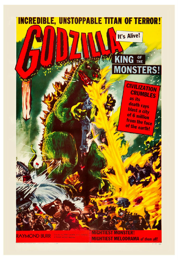 Godzilla King Of The Monsters Poster 1950's Sci-...