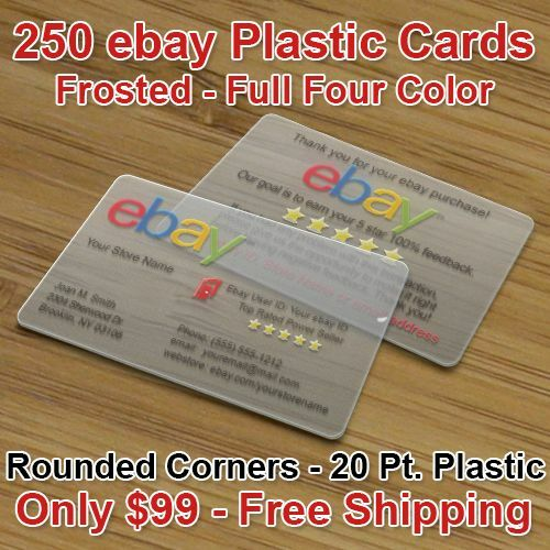 250 Plastic Ebay Business Cards Frosted Finish Full