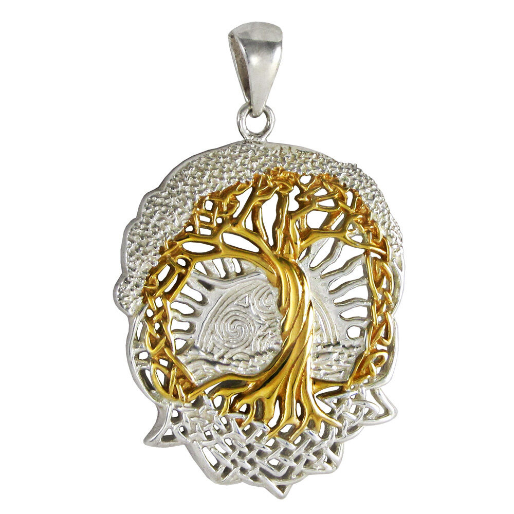Tree Of Life Pendant Sterling Silver Gold Plated Celtic