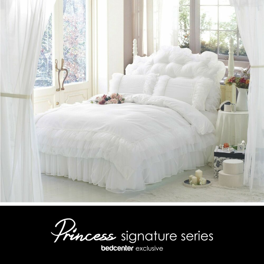 luxury white ruffle lace quilt duvet cover bedding set full queen king bedding ebay. Black Bedroom Furniture Sets. Home Design Ideas