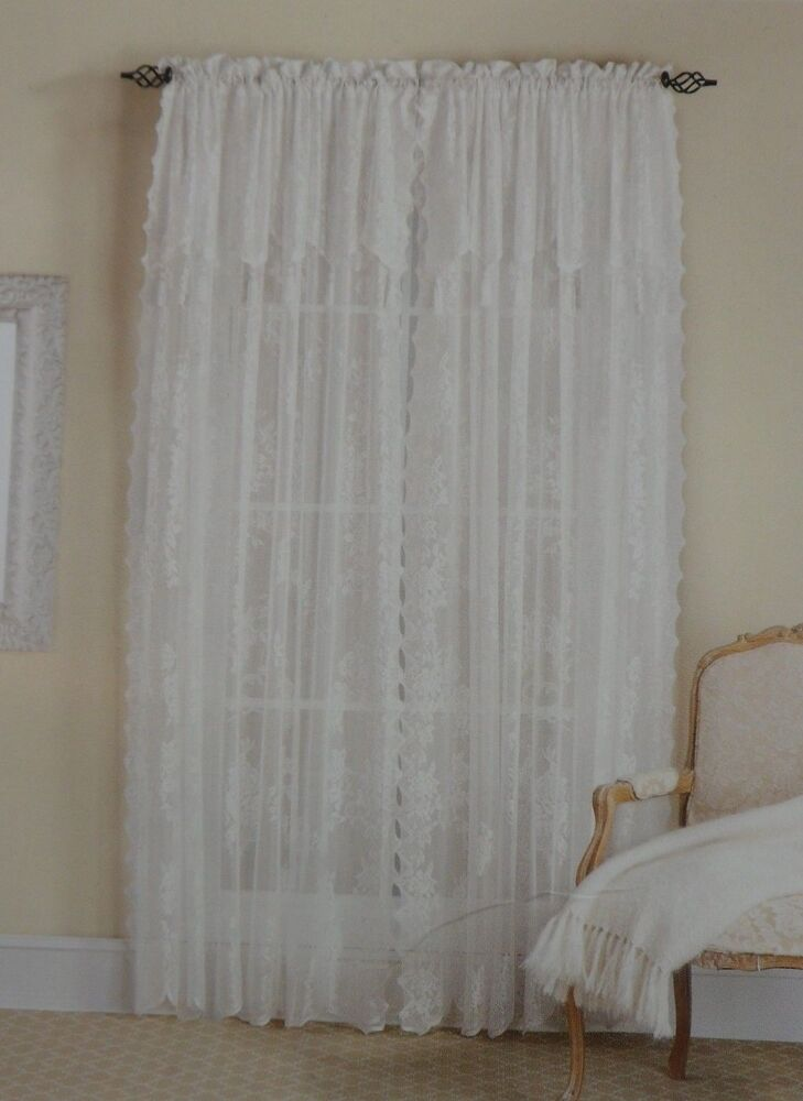 Carley Lace Panel 56 X 84 With 17 Inch Attached Valance Color White Ebay