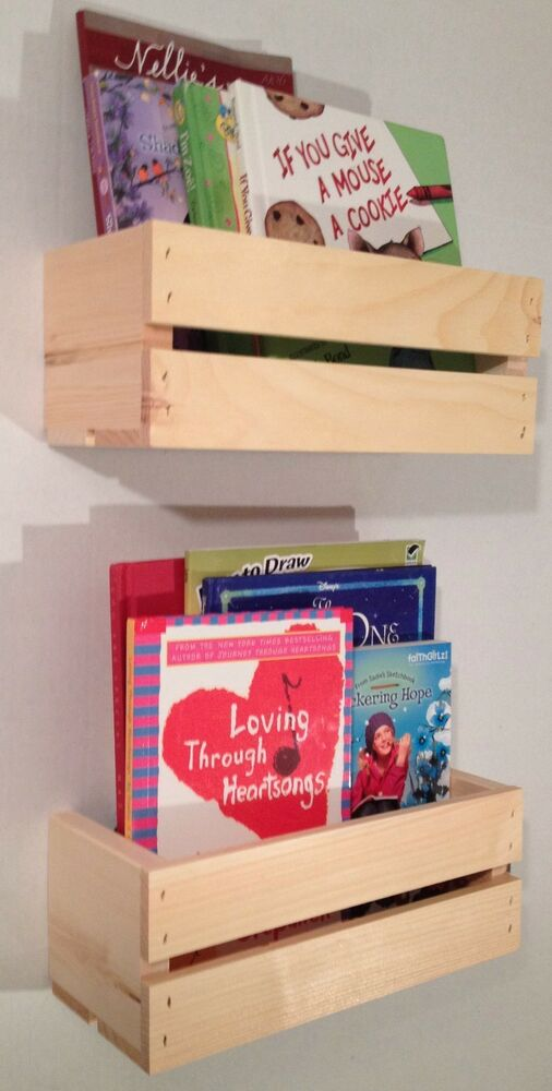 2 Sm Crate Style Book Shelves Shelf Kids Rustic Crates