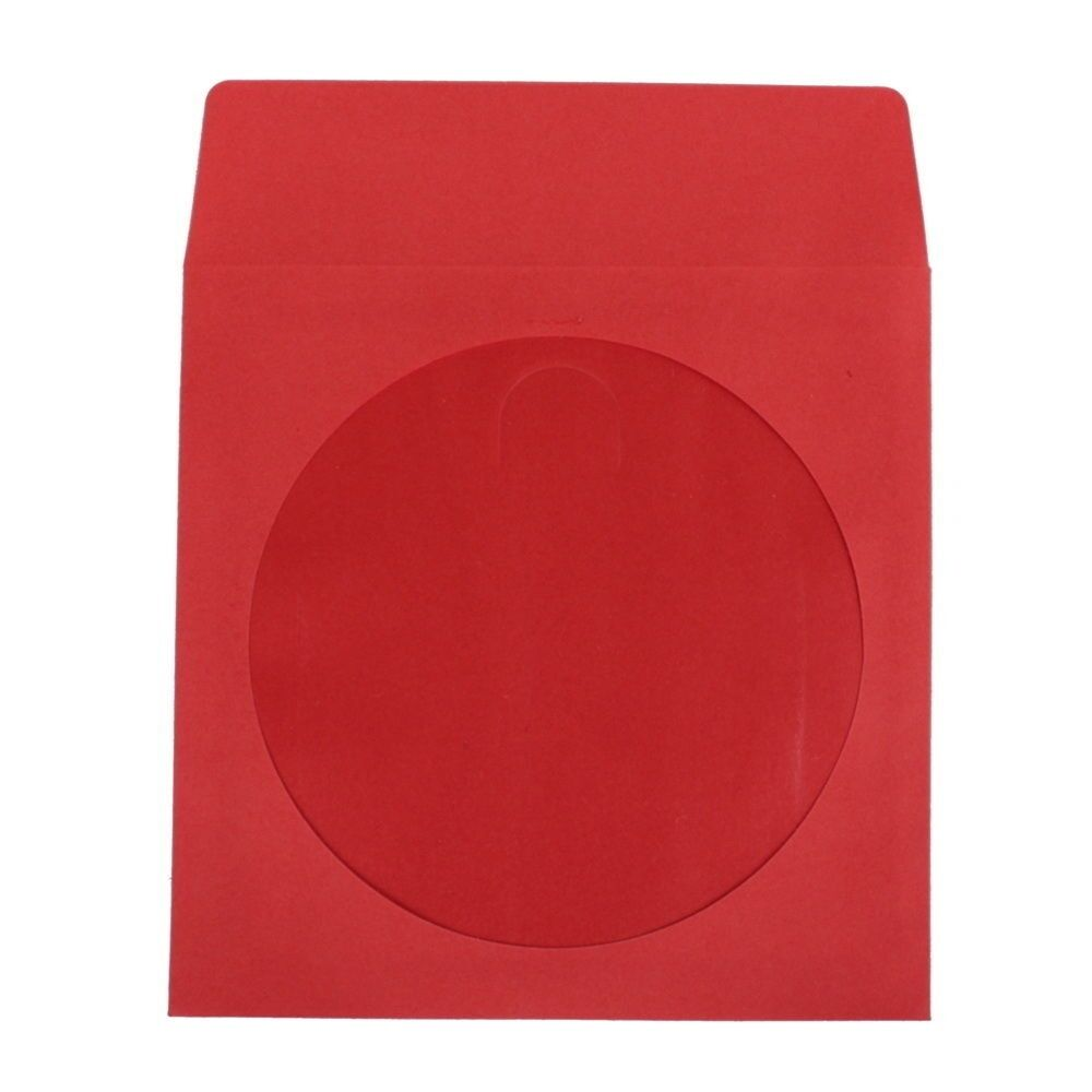 New 100 red cd dvd paper sleeve envelope with window and for 100 paper cd sleeves with window flap