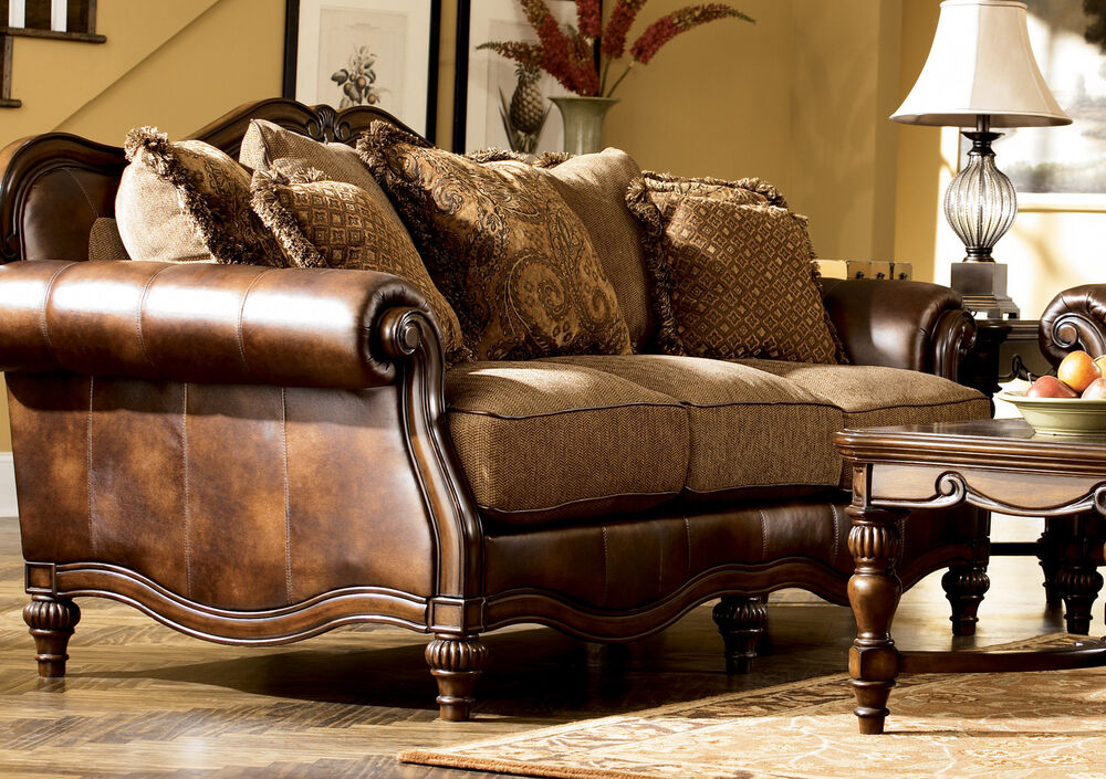 Brown European Traditional Faux Leather Fabric Sofa Set