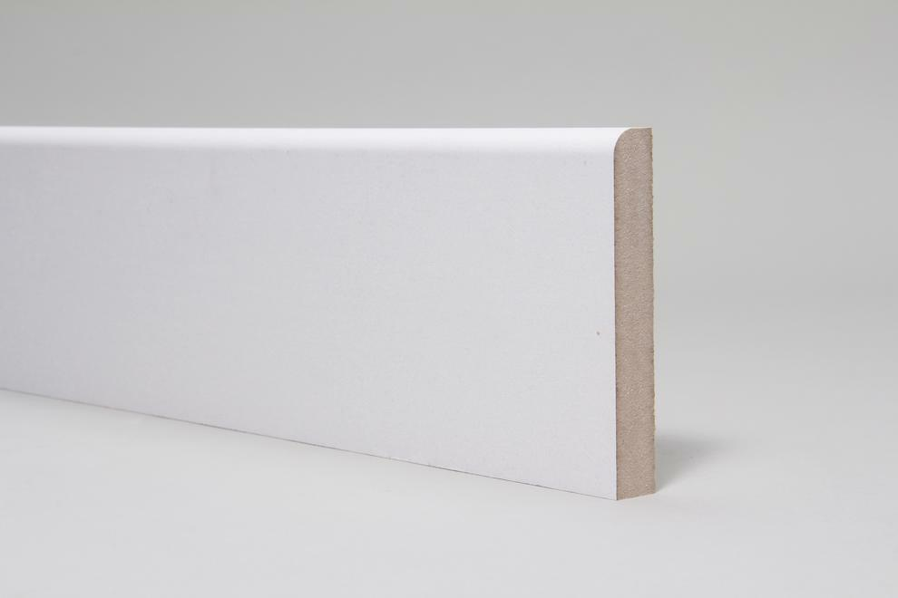 White primed mdf skirting board mm bullnose