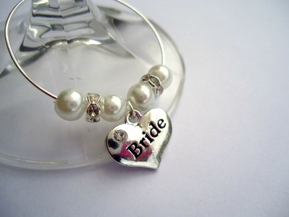 PERSONALIZED WINE GLASS CHARMS: BRIDE, GROOM, BRIDESMAID.... WEDDING ...