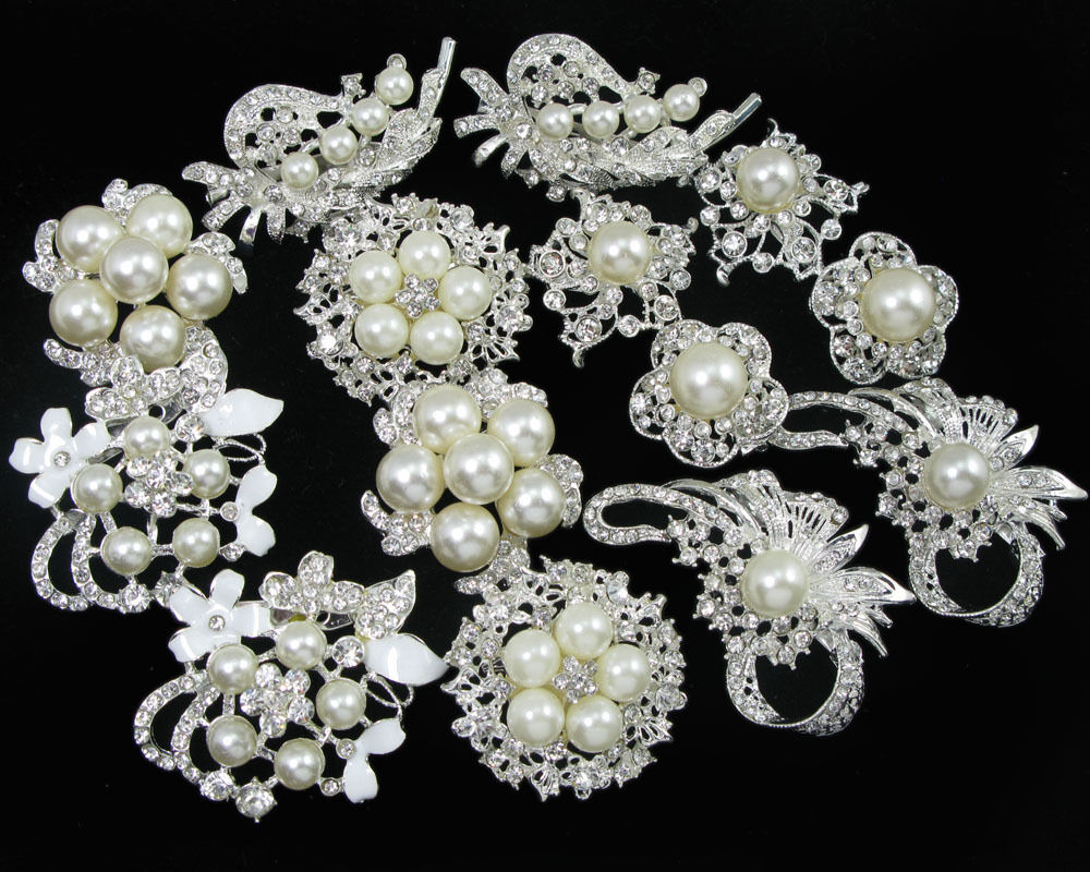 Bridal Bouquet Brooches : Wholesale faux pearl crystal rhinestone brooch