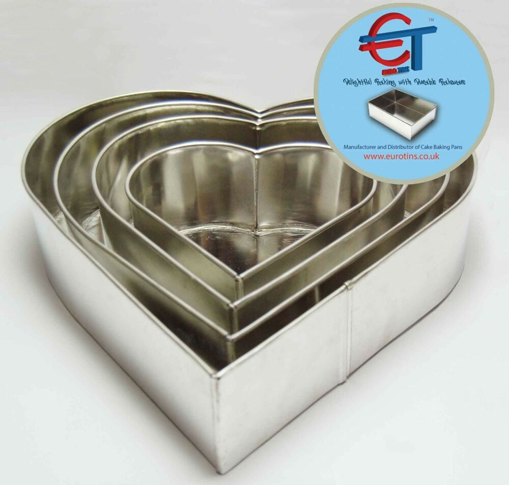 Heart Shaped Cake Tins : SET OF 4-PIECE HEART SHAPE CAKE BAKING PANS BY EURO TINS 6 ...