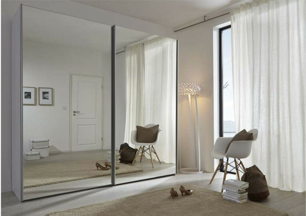 komet 236cm german modern sliding wardrobe full mirror door ebay