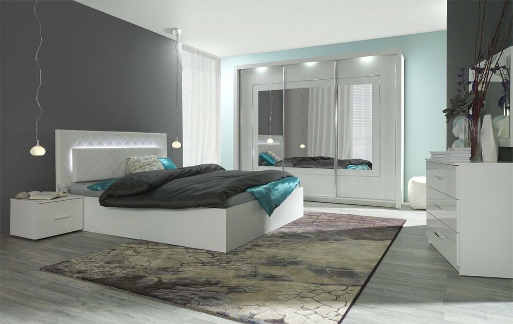 komplett schlafzimmer hochglanz wei mit led bett schrank 2 x nako ebay. Black Bedroom Furniture Sets. Home Design Ideas