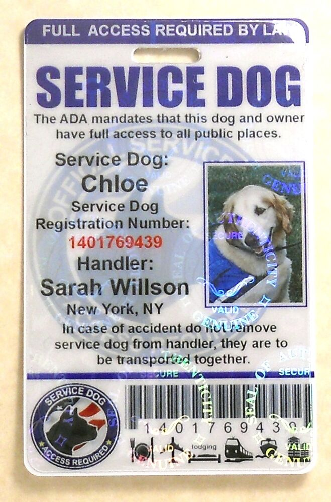 HOLOGRAPHIC SERVICE DOG ID CARD FOR SERVICE ANIMAL ADA