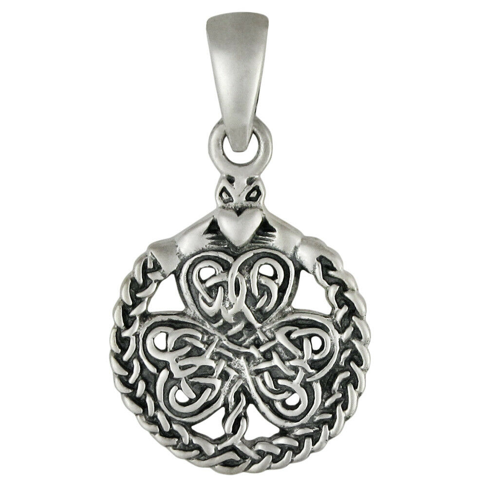 small sterling silver celtic shamrock clover with claddagh