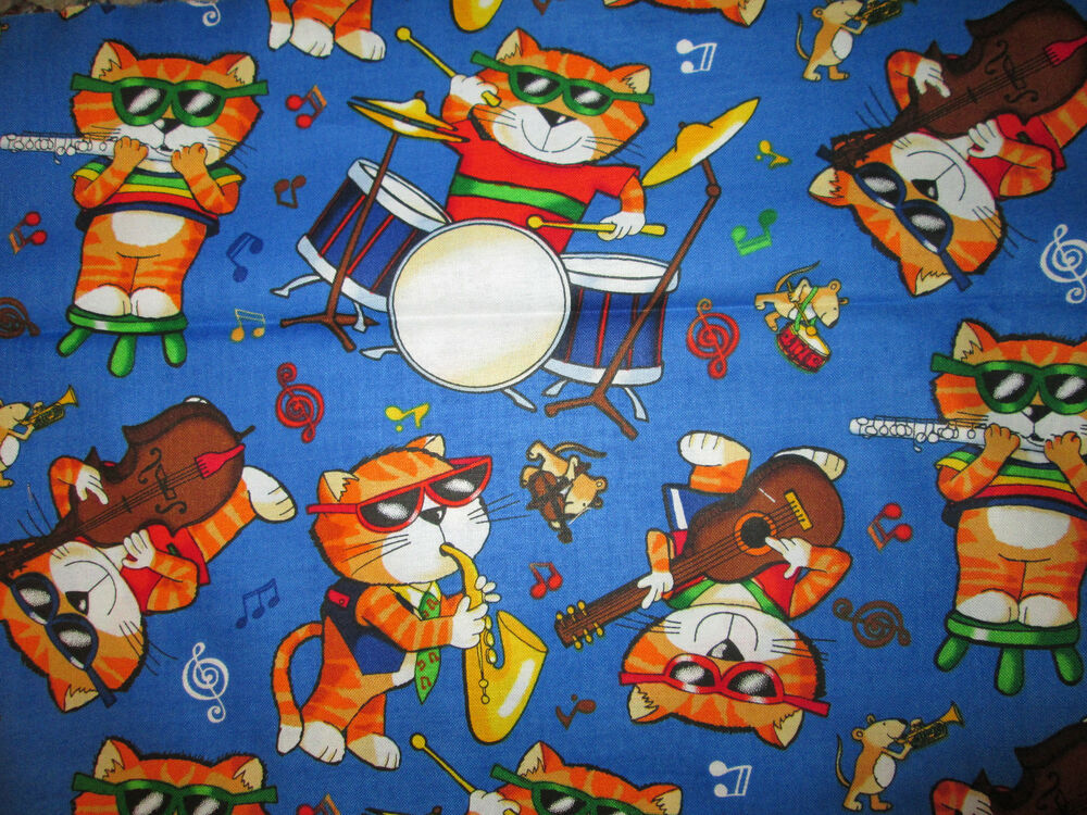 Cats musical cat instruments band blue cotton fabric fq ebay for Space cat fabric