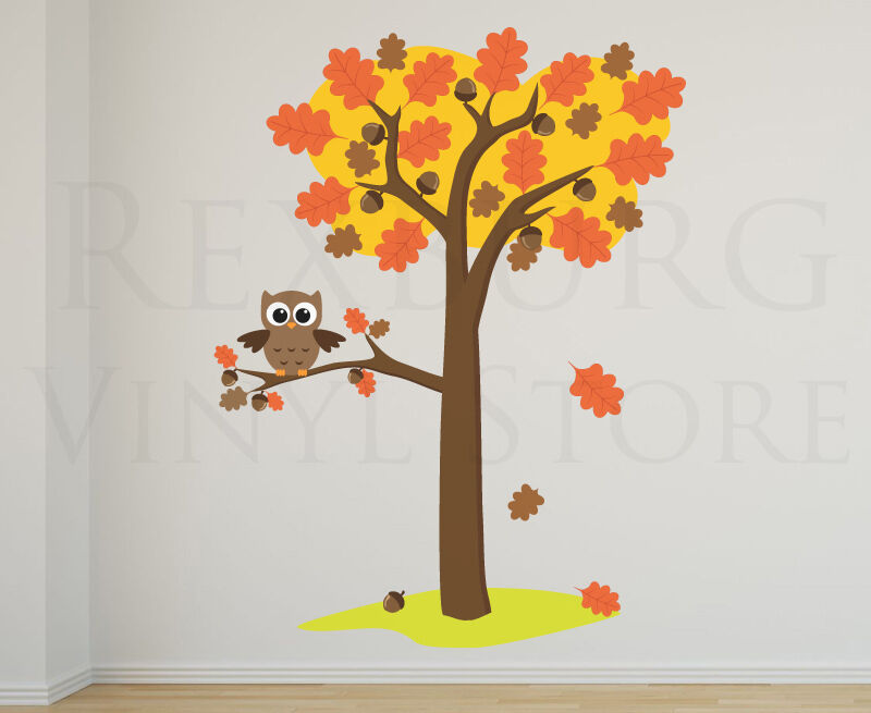 Tree Owl Wall Decal Sticker Art Nursery Fall Leaves Baby