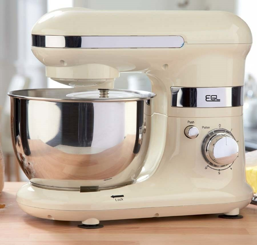 Electric Mixing Bowl ~ Cream electric stand mixer with bowl attachments