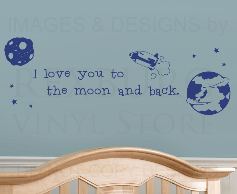 i love you to the moon and back kids nursery baby wall. Black Bedroom Furniture Sets. Home Design Ideas