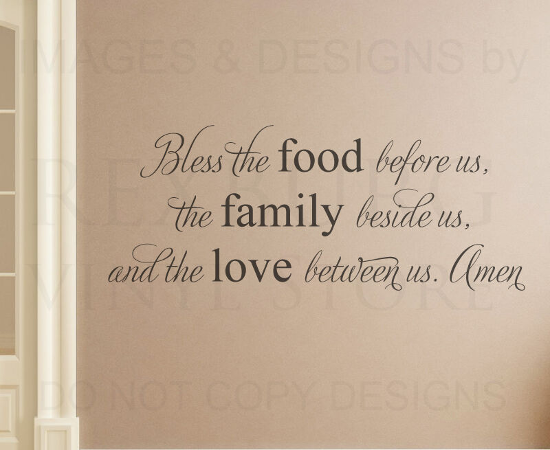 Bless The Food Family Religious Kitchen Wall Decal Vinyl