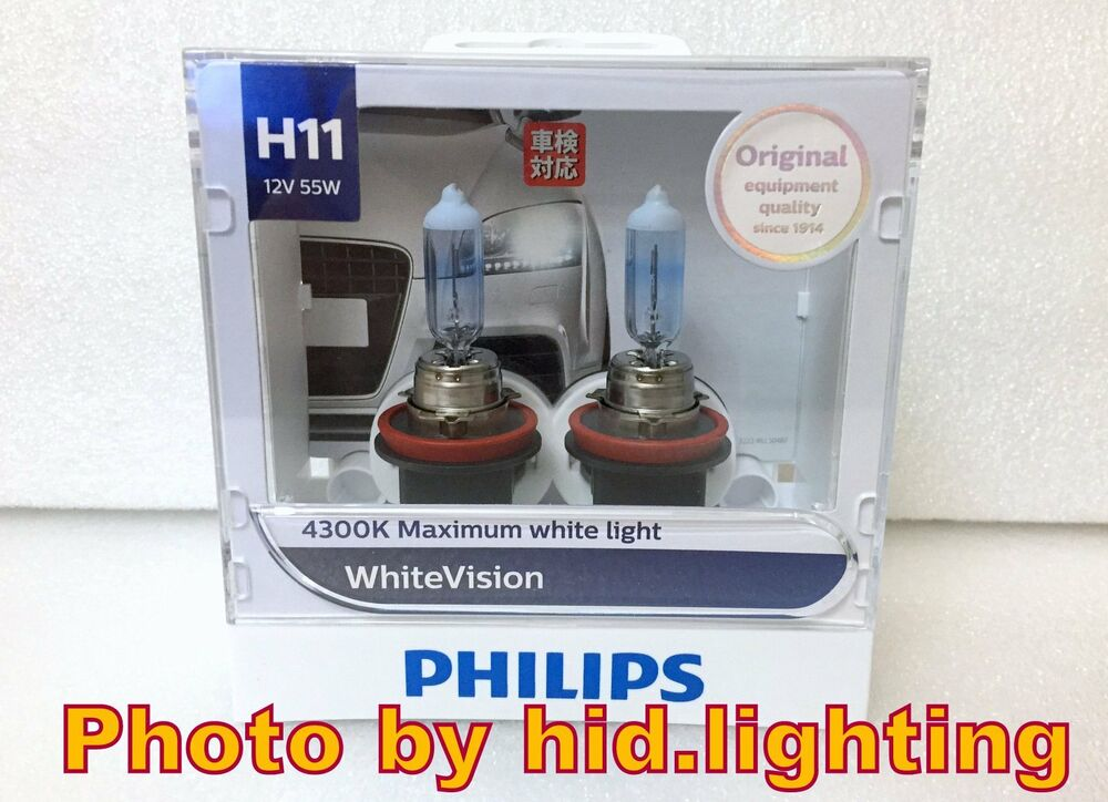 Genuine Philips Whitevision White Vision H11 4300k