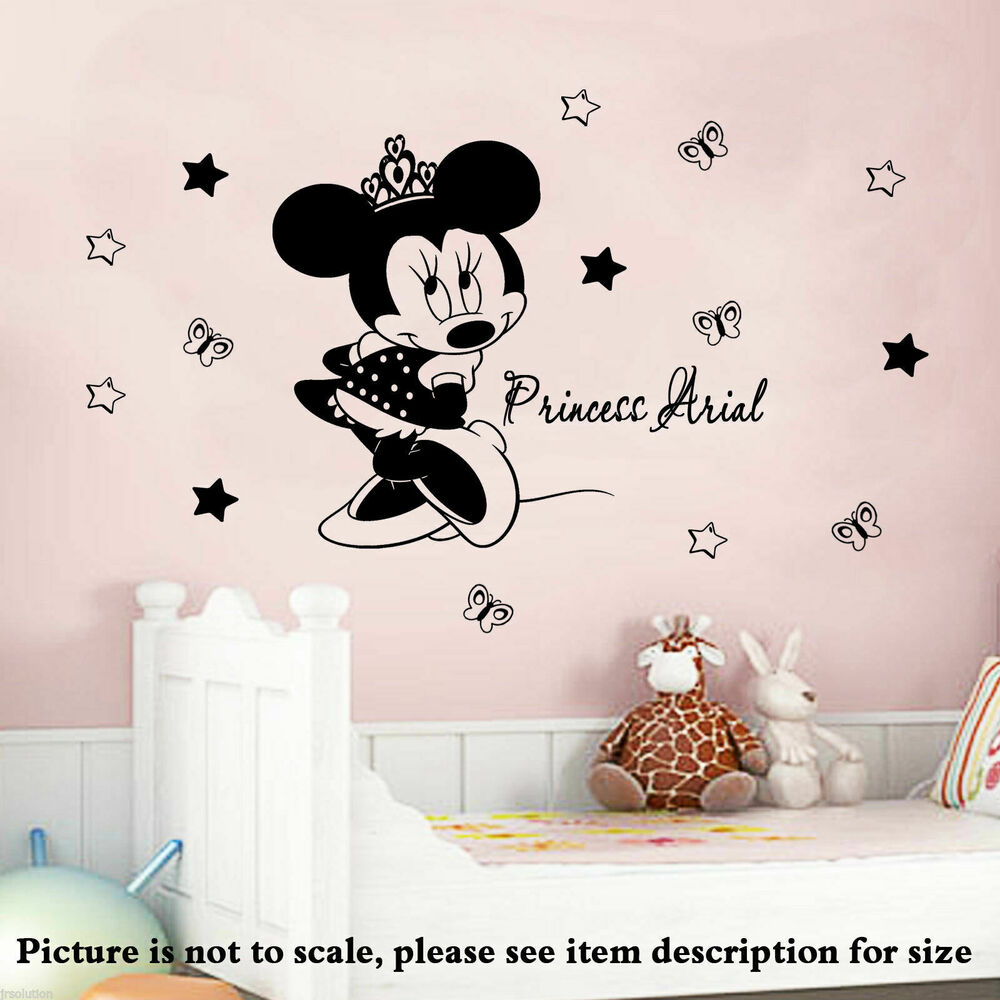 disney minnie mouse crown personalised name vinyl wall stickers decals 14 stars ebay. Black Bedroom Furniture Sets. Home Design Ideas