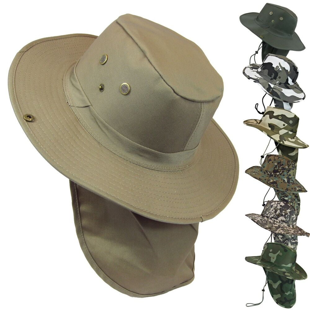 Military camo boonie bush fishing hiking snap brim neck for Fishing neck cover