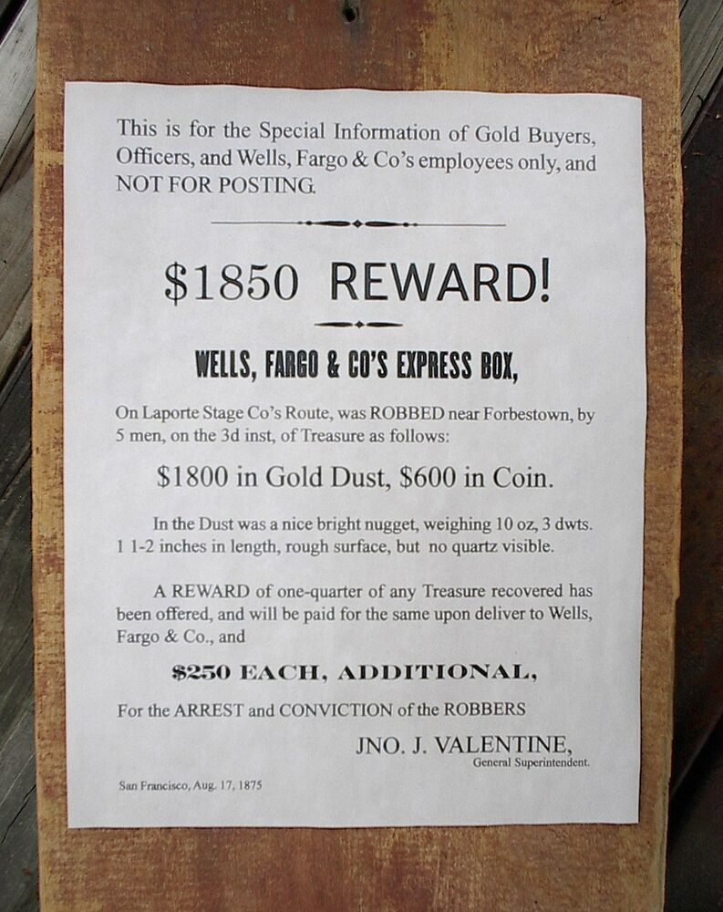 760 Old West Wells Fargo Stage Coach Robbery Reward Reprint Poster Wiring Instructions For 11x14 Ebay