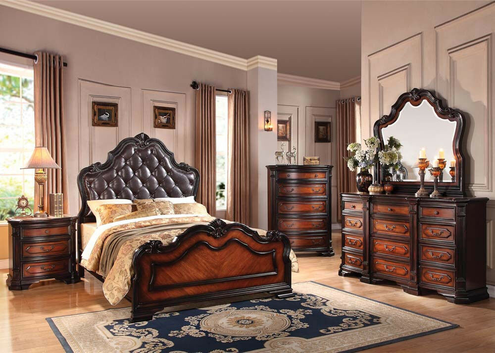 Antique queen king size bed set bedroom home furniture set for Queen furniture set