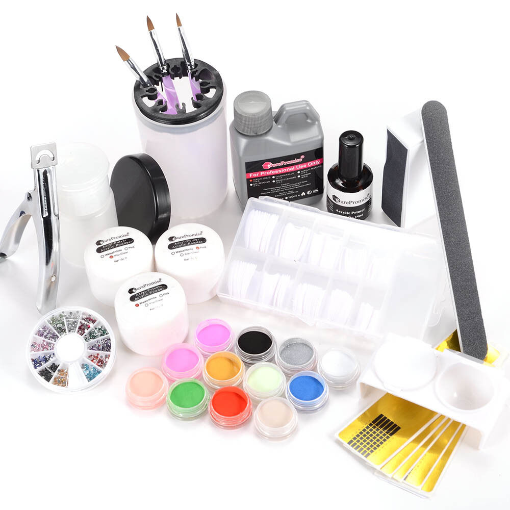 Nail Art Tool Kit: Full Acrylic Powder Liquid Glitter Primer French Tips Nail