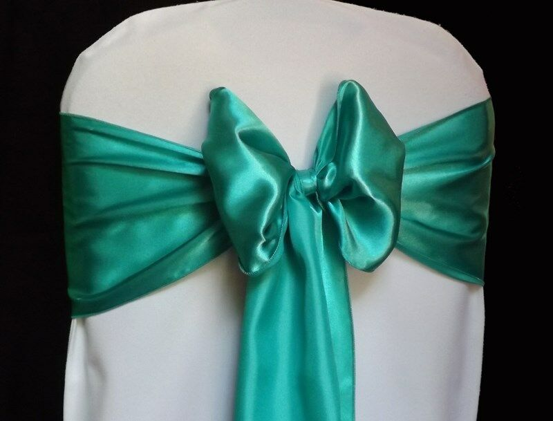 100 Teal Satin Chair Cover Sash Bows 6 Quot X 108 Quot Banquet
