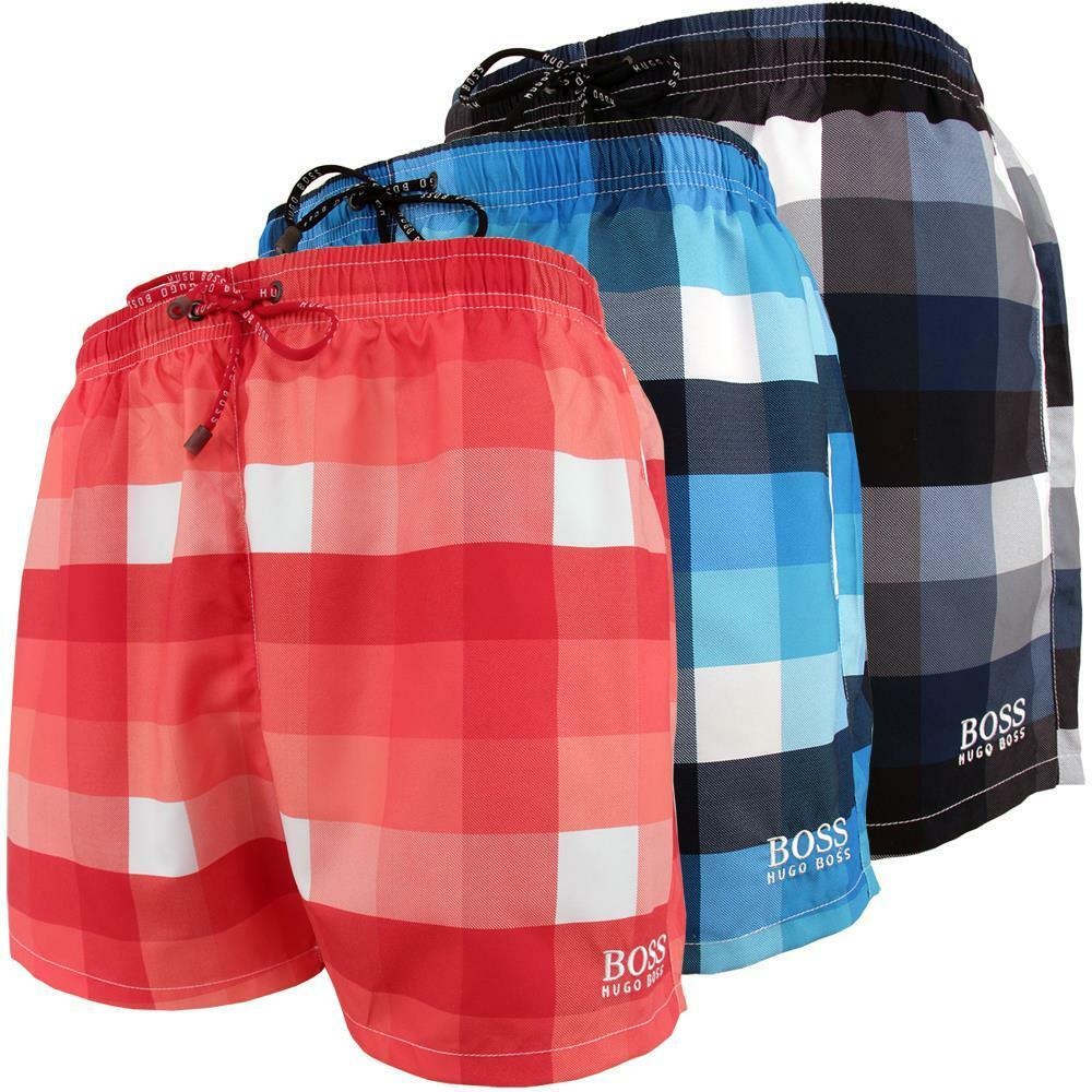 hugo boss herren badeshorts badehosen kariert blau rot von s bis xxl ebay. Black Bedroom Furniture Sets. Home Design Ideas