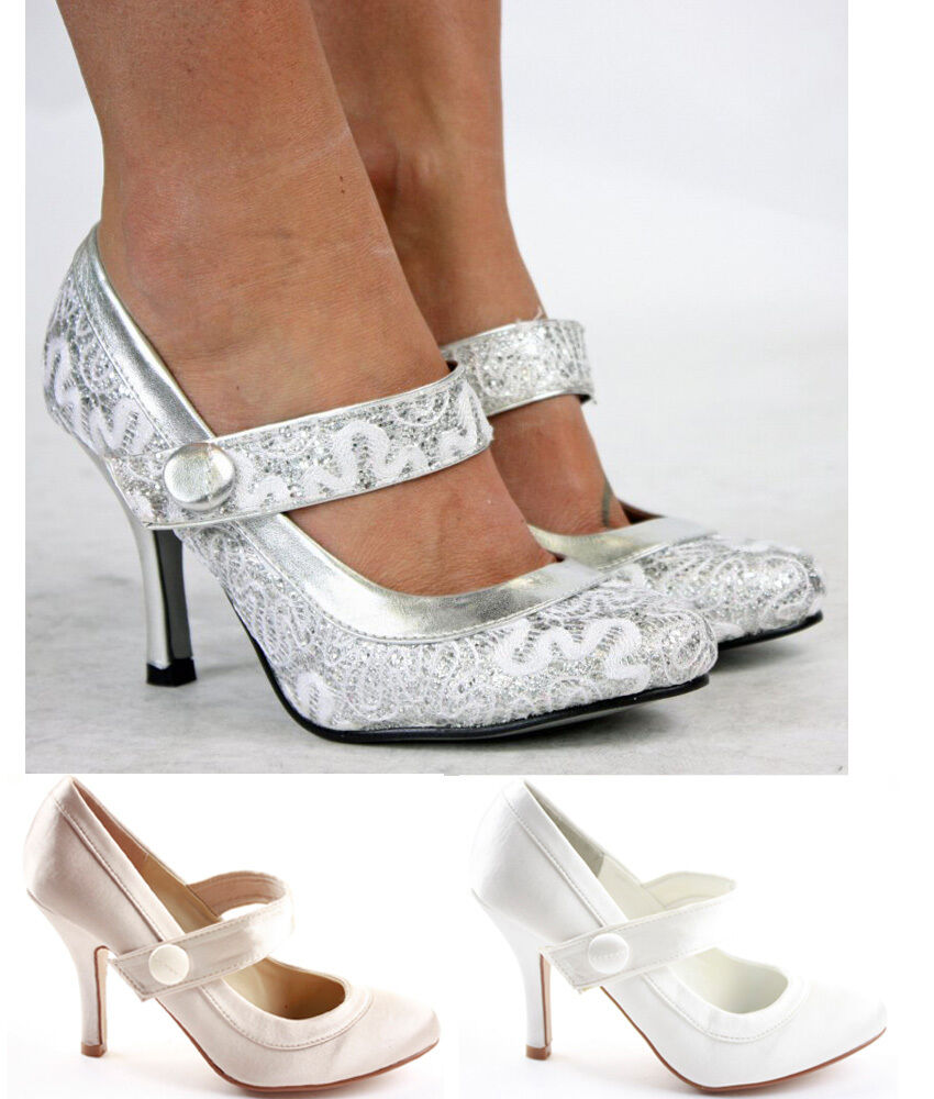 Wedding Bridal Heels: Ladies Party Wedding Bridal Pumps Low Mid Heels Prom