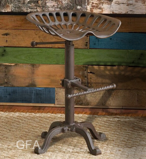 Lovely Tractor Stool Cast Iron Vintage Style Seat Bar