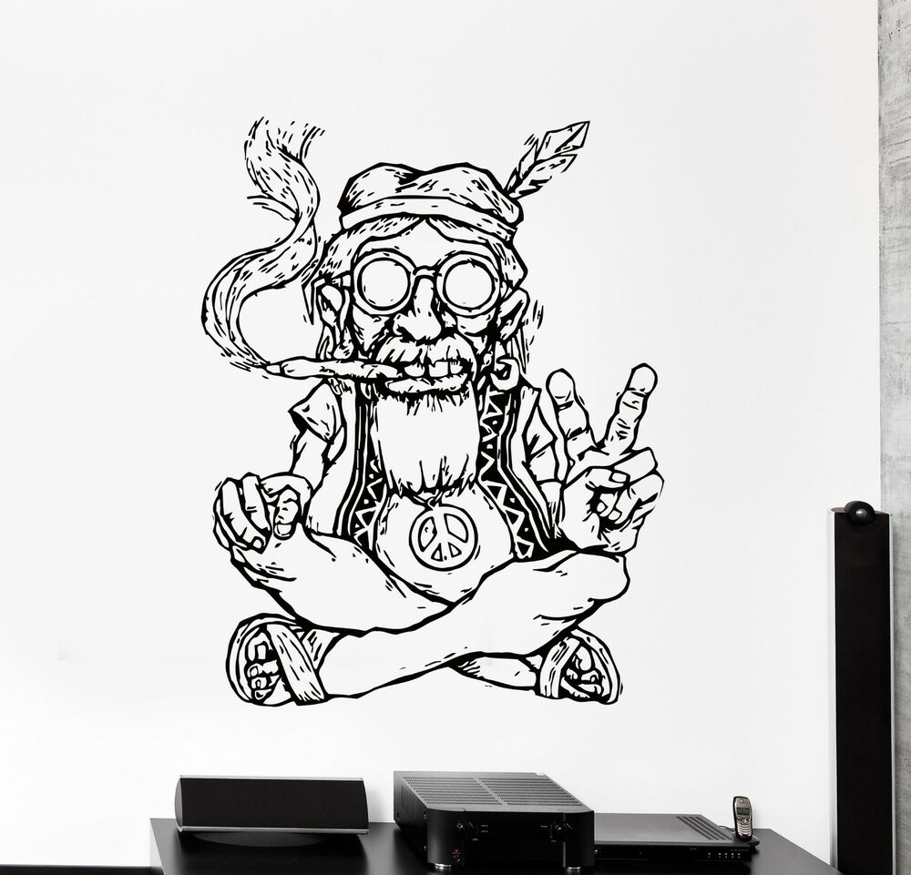 Wall Stickers Vinyl Decal Hippie In Glasses Smoking Weed
