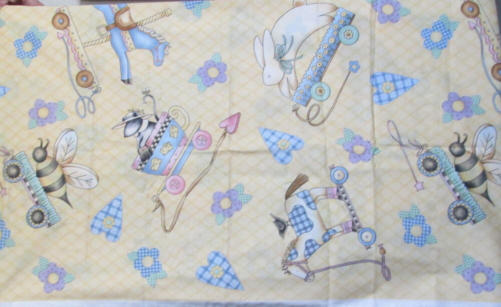 Debbie mumm cotton fabric baby nursery print large scale for Nursery print fabric