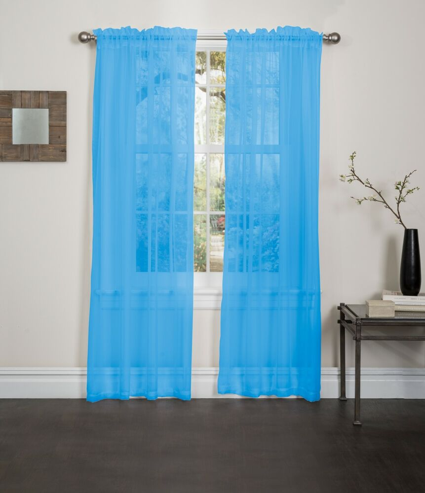 Aqua Sheer Voile Window Curtain Panel Great Quality Sheer