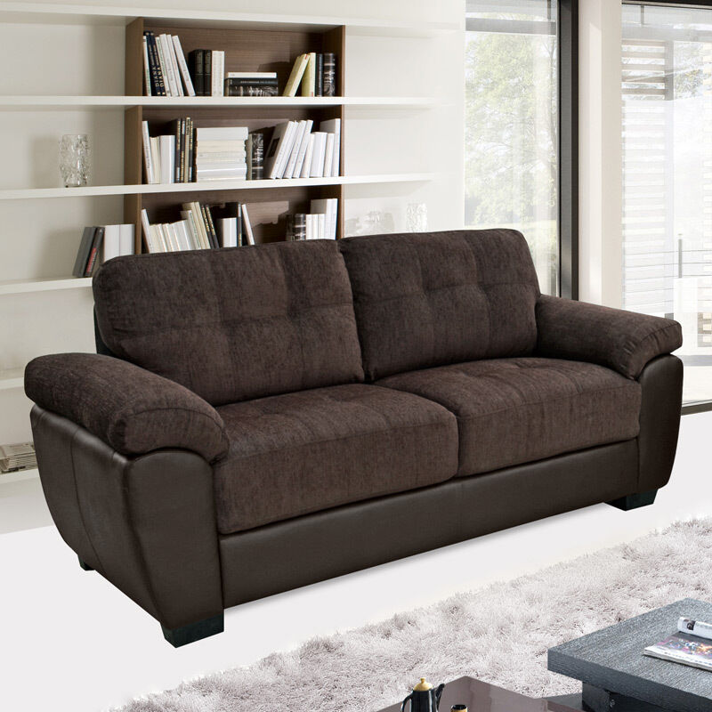 NEWPORT Brown Chenille Fabric & Leather Match Sofas 3 ...