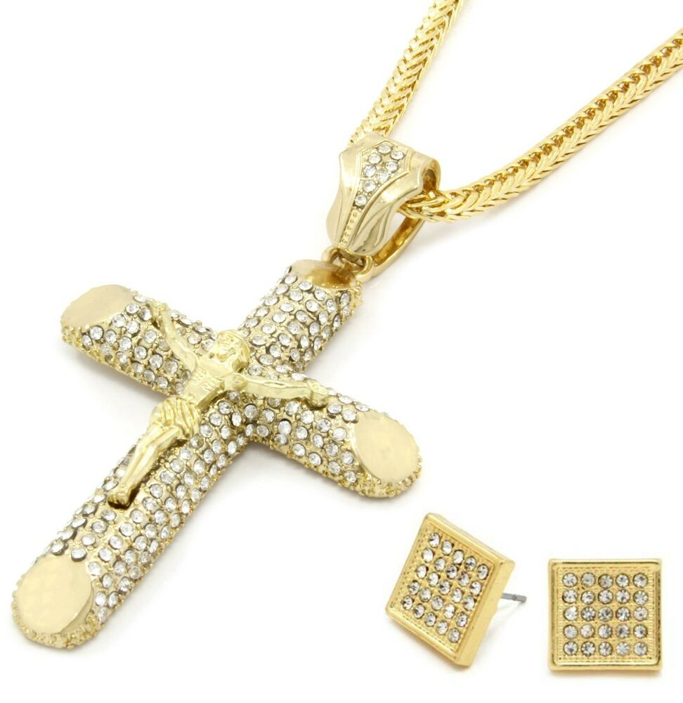 mens large jesus cross gold iced out pendant 36 inch