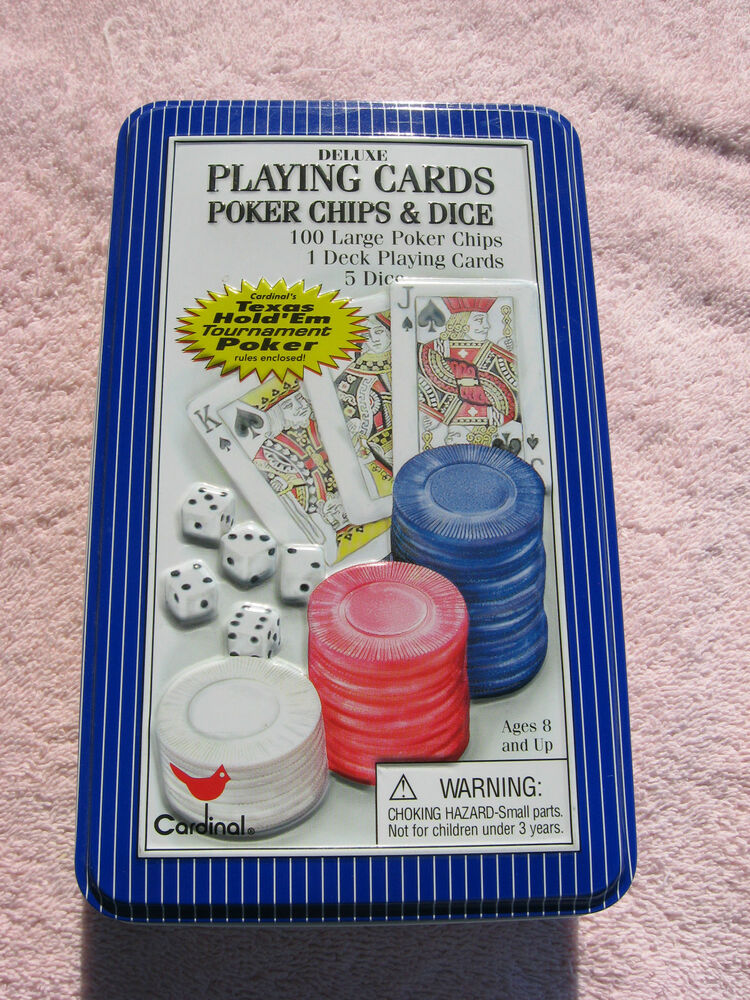 deluxe playing cards poker chips dice set family fun game
