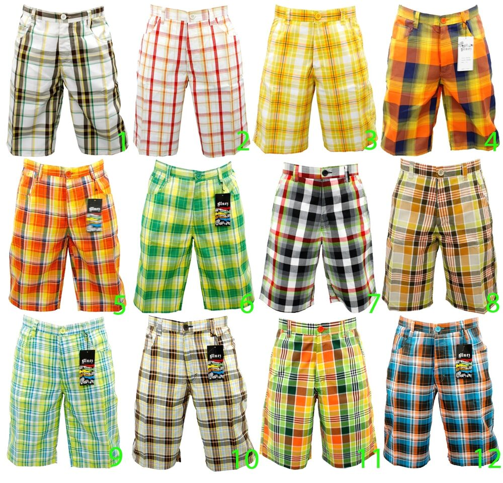 New men mixed brand fashion multi color plaid shorts check for Mixed plaid shirt mens