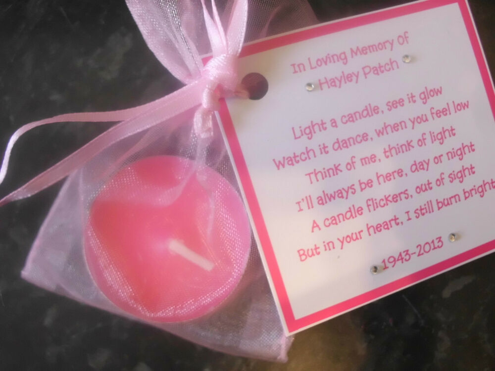 Candle Poem For Wedding Gift: Personalised Scented Candle Favor Memorial Funeral