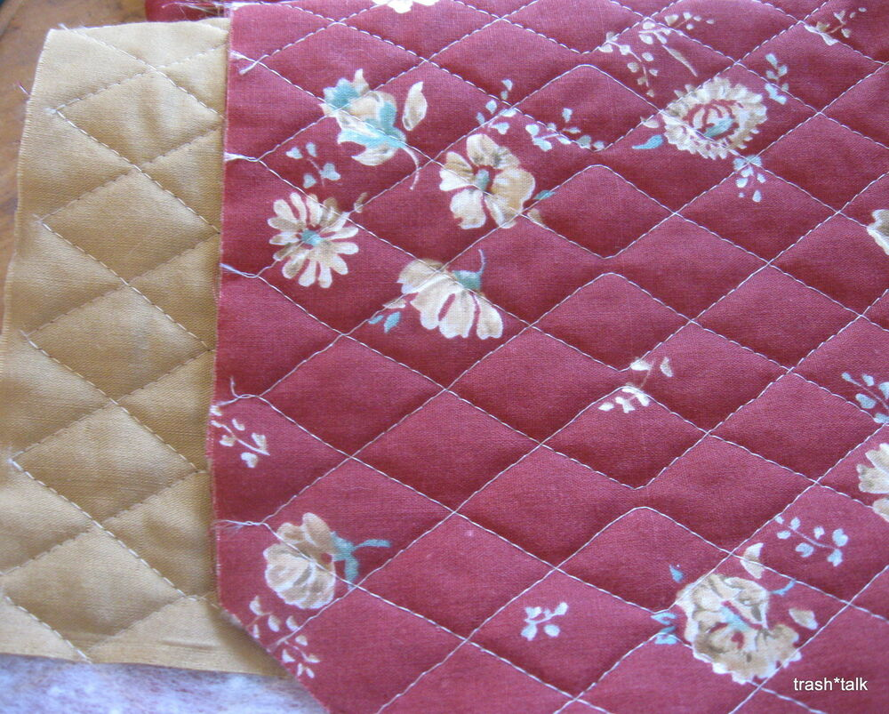 Prequilted Burgundy Tan Fabric Pre Quilted Floral Half
