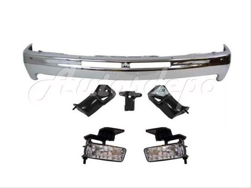 1999 2002 silverado front steel bumper bar chrome fog light with bracket ebay