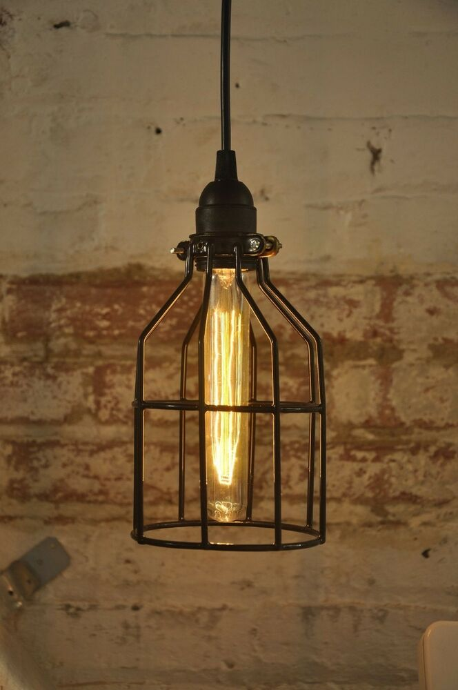 Metal bulb guard only lamp light cage pendant hanging for Metal hanging lights