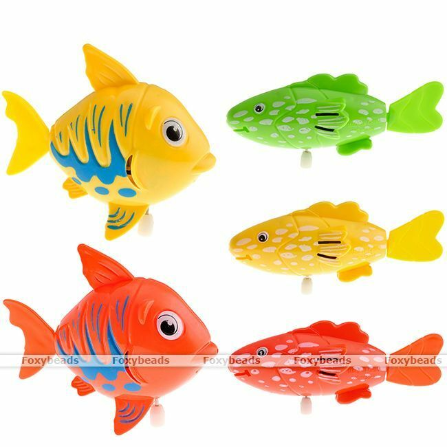 Robo wind up moving plastic swimming fish pet baby kids for Swimming fish cat toy