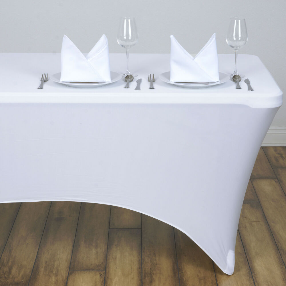 White 4 ft RECTANGLE SPANDEX STRETCH TABLE COVER Fitted