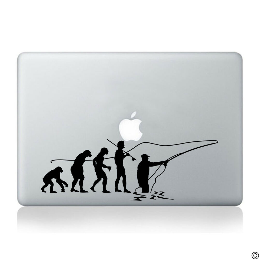 Evolution of fly fishing vinyl decal fits laptop car for Free fishing stickers