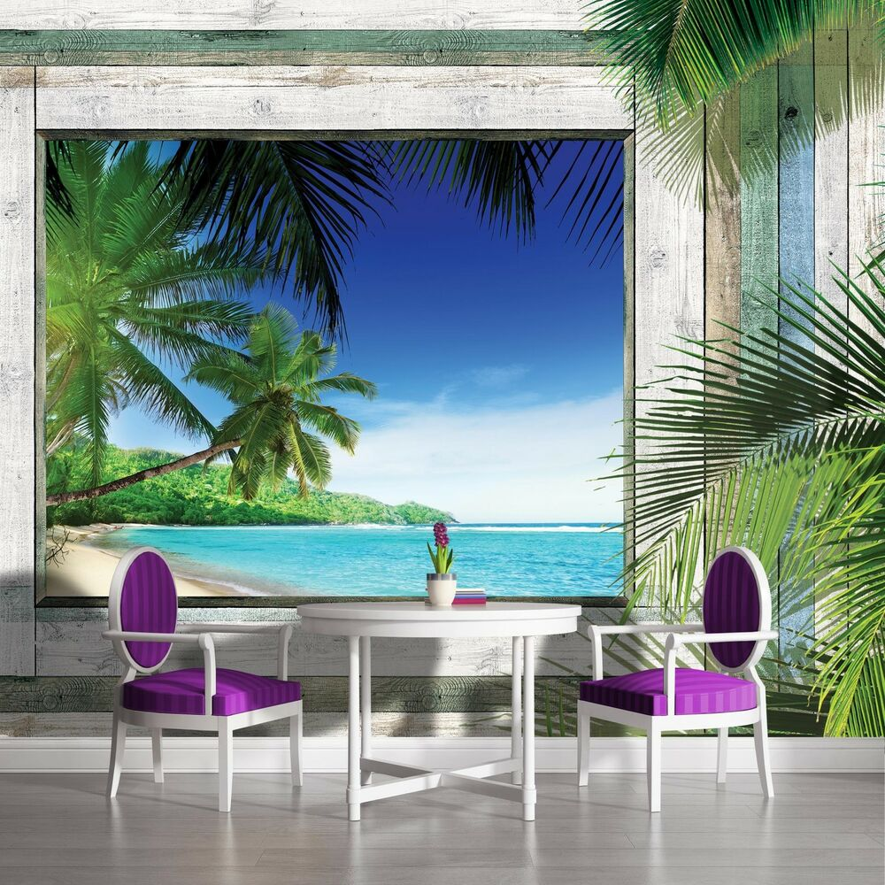 vlies fototapete fototapeten tapeten tapete foto palmen strand meer sonne 1223ve ebay. Black Bedroom Furniture Sets. Home Design Ideas