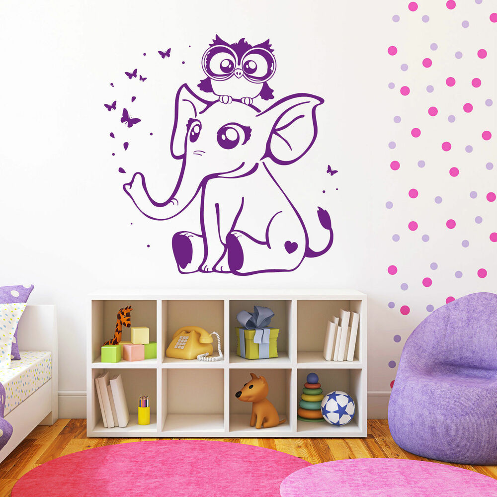 wandtattoo loft eulen eule elefant wandbild kinderzimmer tiere aufkleber 10393 ebay. Black Bedroom Furniture Sets. Home Design Ideas