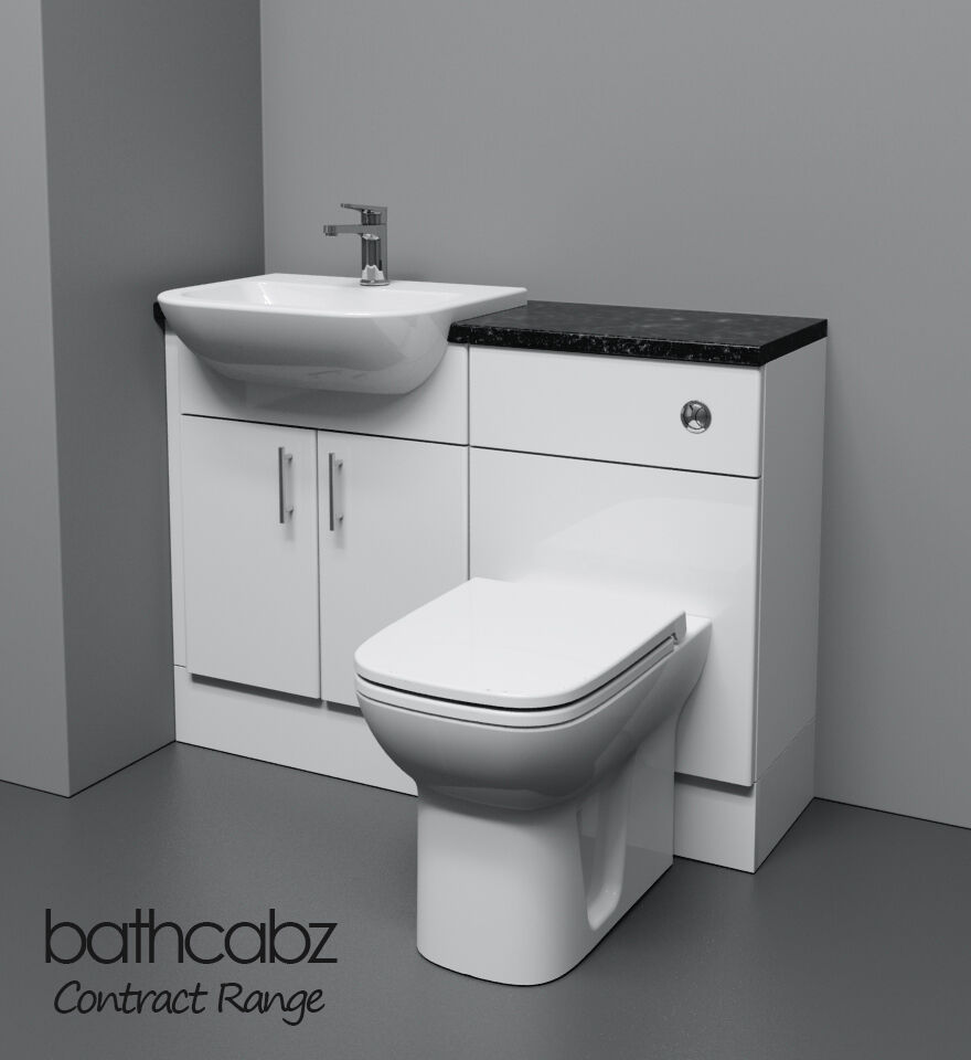 white bathroom fitted furniture 1100mm ebay